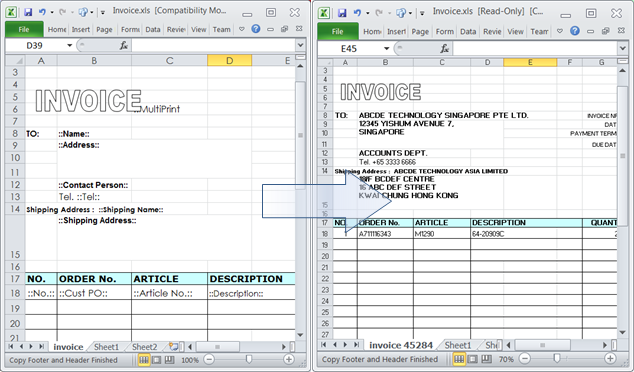 bau db links up spreadhseet and database together: pre-formatted excel spreadsheet report/document template