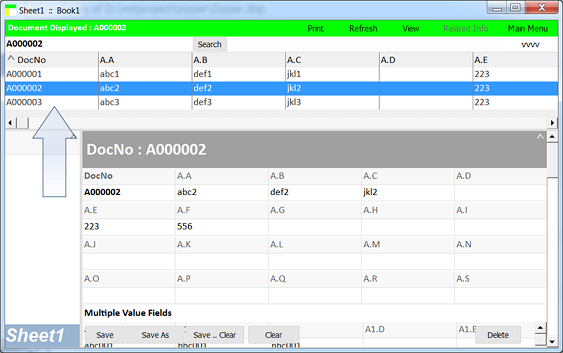 rapid database application development : ready-made list view and search box in each new worksheet.