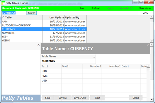 a convenient database tool feature: ready-to-use petty tables facilitate storing of some small data tables.