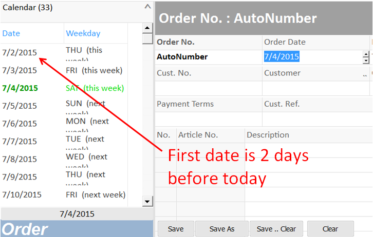 date list started by a defined date value