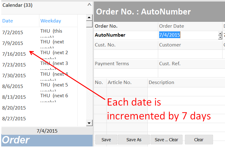 date list with date values incremented by certain days.