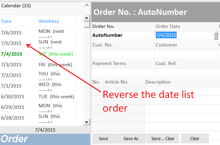 date list with descending display order