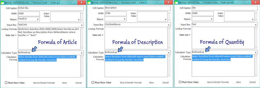 set the bulk lookup formula in the cells of article, description and qty