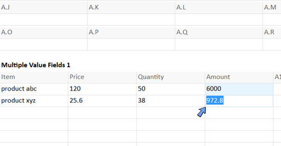 calculate amount from price and qty