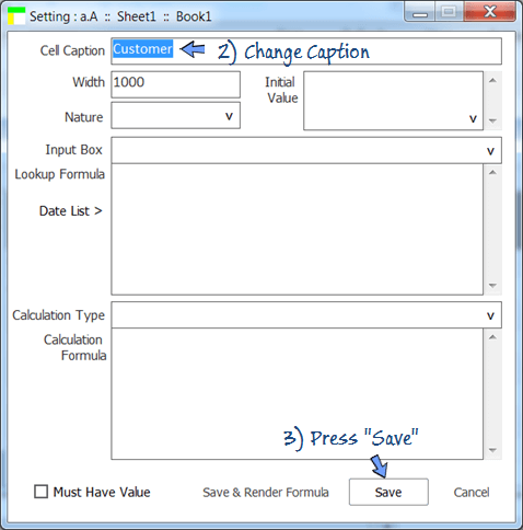 change caption in the field setting of customer