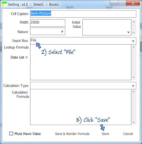 change input box of cell setting