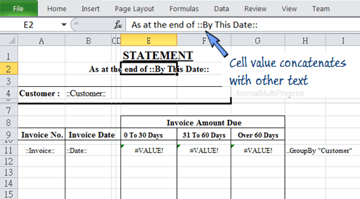 cell value concatenate with text in a cell on the Excel spreadsheet