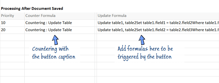 Add formulas in Process Data for the countering button.