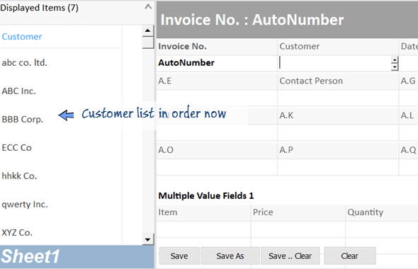 sort the customer with order by formula