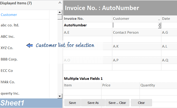display customer list for selection in invoice worksheet