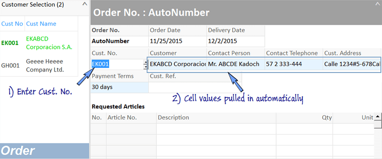 pulling customer data to Order worksheet.