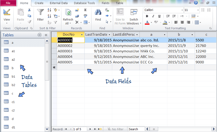 open worksheet database file in access