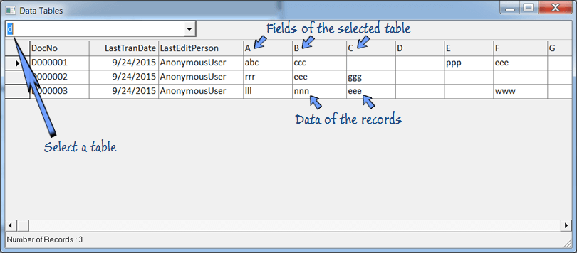 View the database tables