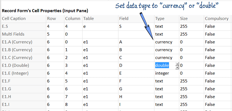 Setting data type of a decimal to currency or double