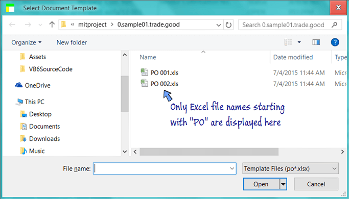 only Excel file name starting with po are displayed in the file selection screen