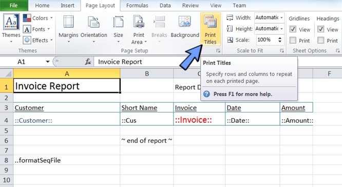 click page layout and print titles in Excel