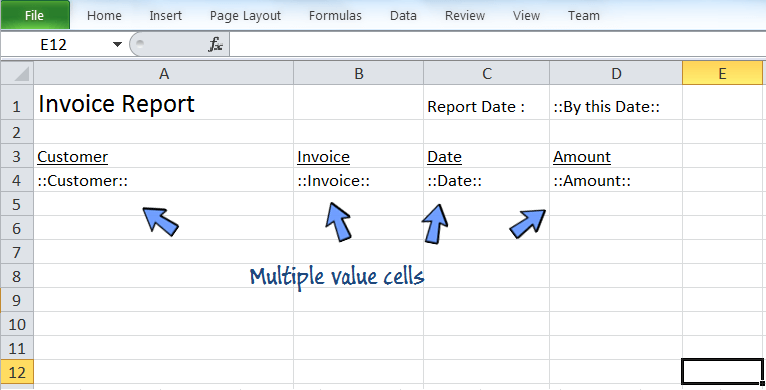 the spreadsheet template for the reporting style of sequential list of report data