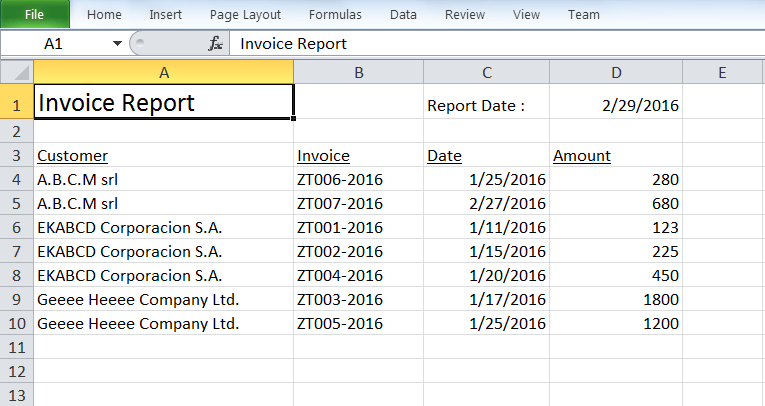 print sequential list of report data on Excel spreadsheet