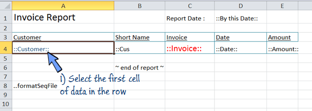 select the first cell captions in the spreadsheet template
