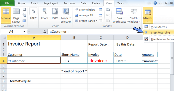 click stop recording of macro in excel spreadsheet