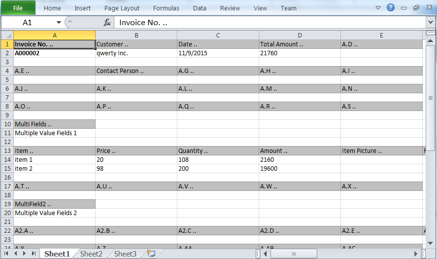 the exported excel spreadsheet from entry form of BAU DB worksheet