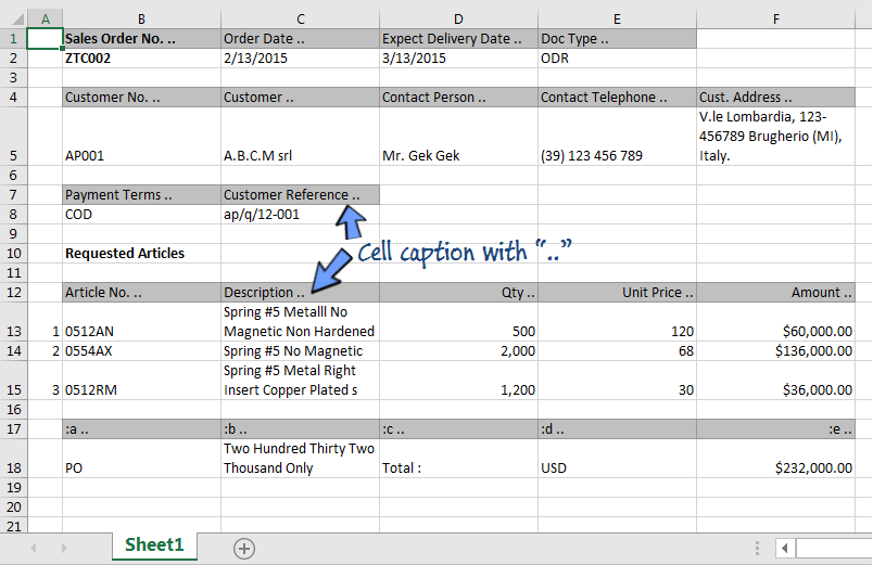 An exported spreadsheet file of an entry