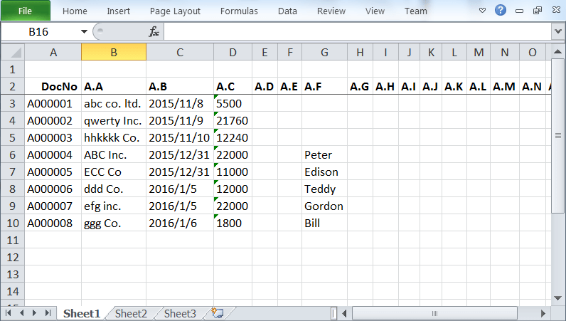 the exported excel spreadsheet from list view of BAU DB worksheet
