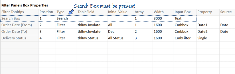 add filter boxes to list view for filtering data