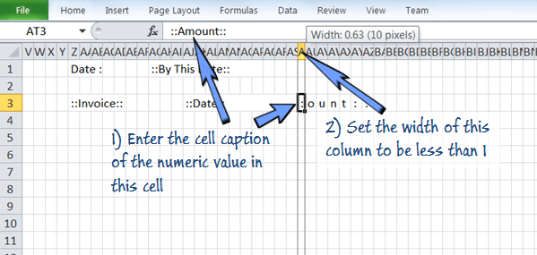 put cell caption in a cell and hide it up by setting column width smaller than 1.