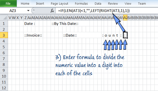 add formula to distribute the digits to each of the cells.