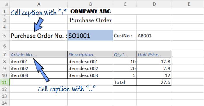 An entry format in a spreadsheet with furnished layout.