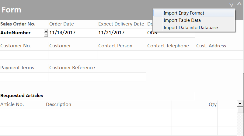 Select Import Entry Format Spreadsheet