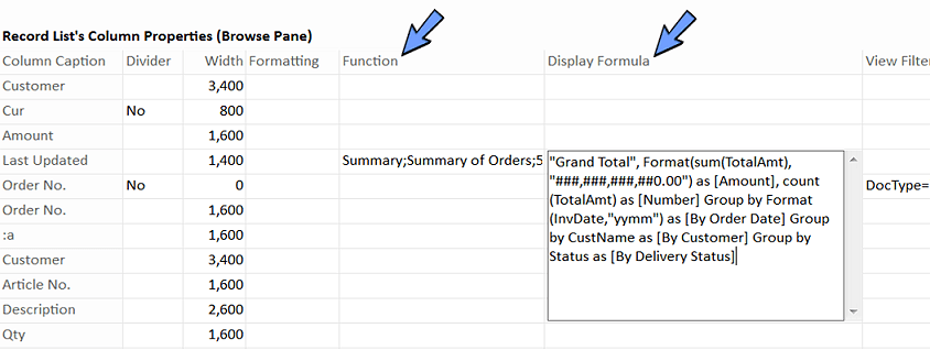 define the formula to display related information in list view.