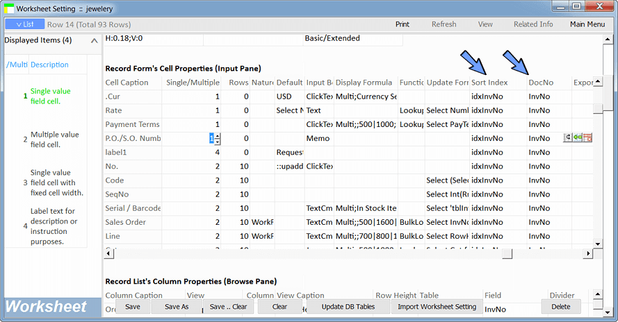 input pane properties - key field and index