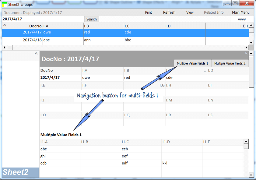 Setting naviagtion tabs for input pane