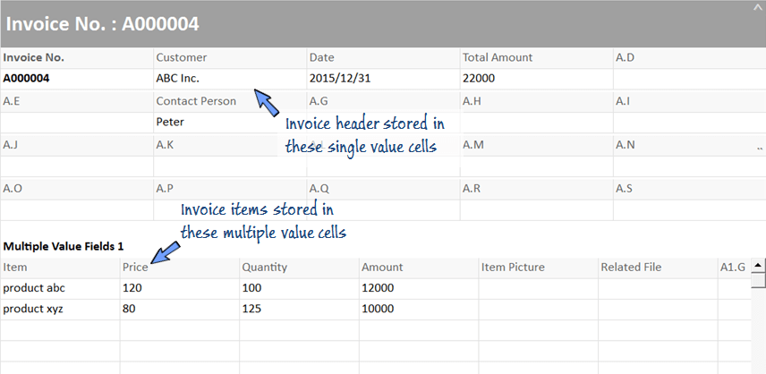 invoice items are stored in the multiple cells of the Invoice worksheet