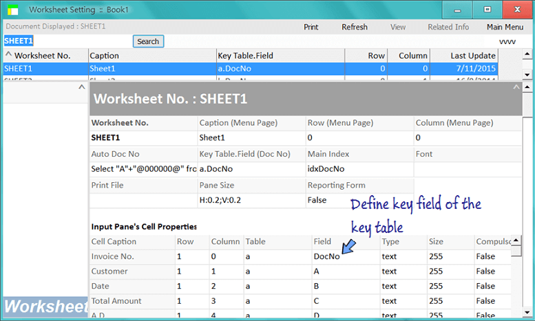 define key field in input pane's cell properties
