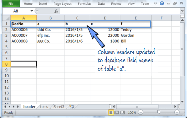 change the header names to database field names