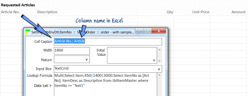 Map Excel spreadsheet column name in cell setting screen.