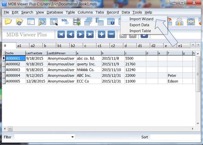 import spreadsheet data quickly into BAU DB using MDB Viewer Plus.
