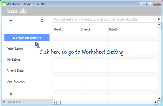 click here in Main Menu to Worksheet Setting