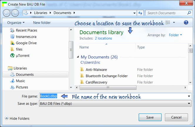 enter the filename and select a location to save the workbook file.