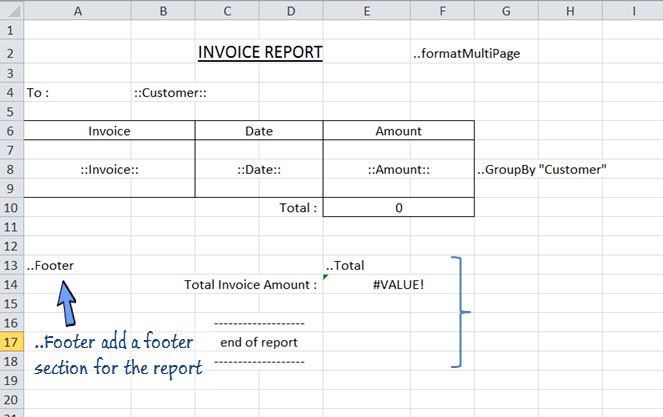 ..footer adds a footer section in the excel report