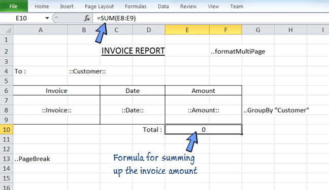 combine using Excel formula in the report.