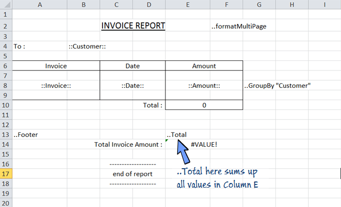 ..total calculate the total sum of a whole column in the footer section