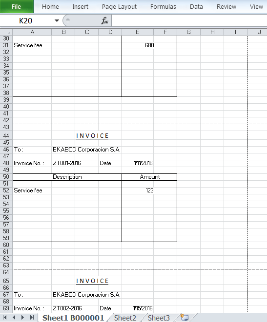 the output spreadsheet of one page one row report