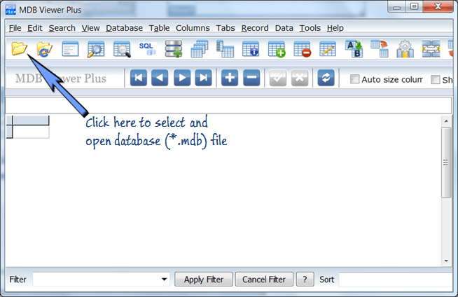 open database file in mdb viewer plus