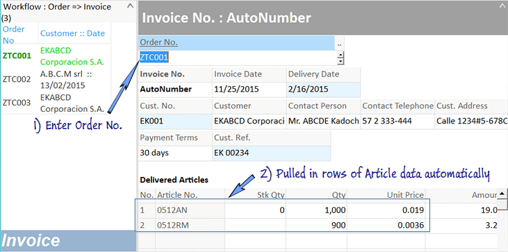 transfer data from order worksheet to invoice worksheet