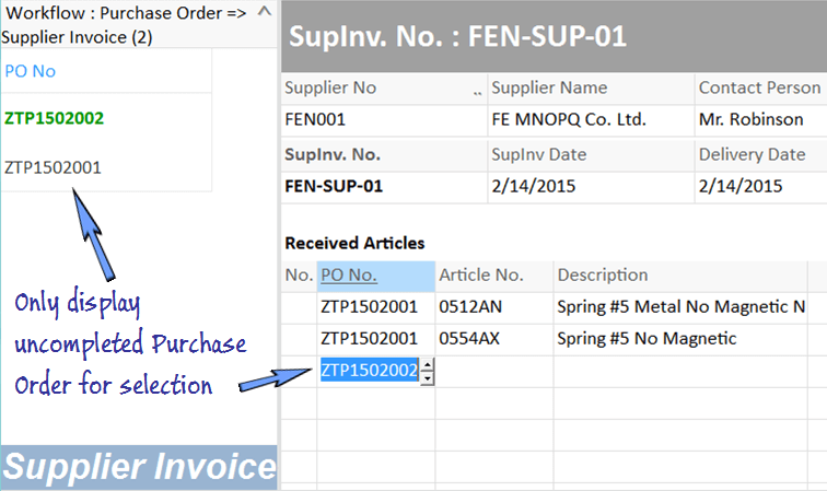 display outstanding purchase order for input selection