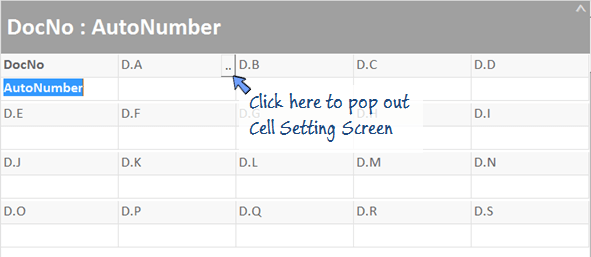 pop out cell setting screen